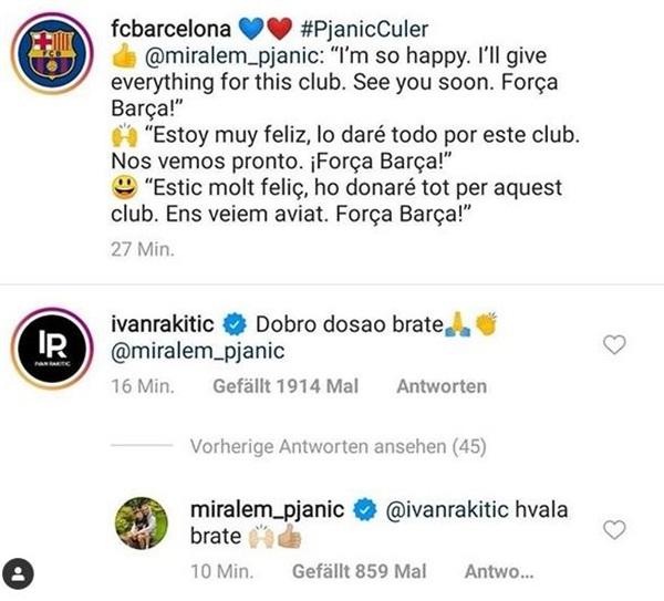 Rakitić poželio dobrodošlicu Pjaniću na Nou Camp | Visoko.co.ba